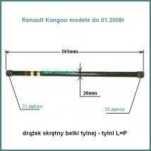 drążek skrętny tylnej belki - tylny (krótszy) 565mm Renault Kangoo do 01.2008r