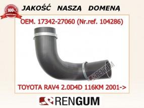 Przewód rura turbo intercooler Toyota/RAV4/ 1734227060 Produkt wysokiej jakości