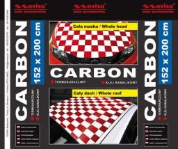 Folia Carbon biała z czerwoną szachownicą 152 x 200 cm